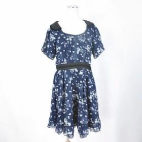 【中古】アクシーズファム axes femme ワンピース 半袖 膝丈 フレアー フリル リボン 花柄 M 青 ブルー