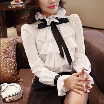 白シャツ ブラウス トップス リボン ガーリー 可愛い フェミニン フリル 女子会 デート イベント bs0570