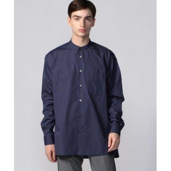 トゥモローランド ストライプポプリン ノーカラー ビッグシャツ メンズ 66ブルー系 F 【TOMORROWLAND】