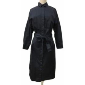 【中古】オペークドットクリップ ワンピース シャツ Aライン ロング ベルト 長袖 38/M 紺 ネイビー レディース