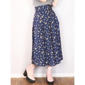 【E】ArtPatternフレアスカート dazzlin○021920801401 ネイビー スカート