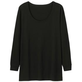 (GU)GUウォームワイドUネックT(9分袖) BLACK XL