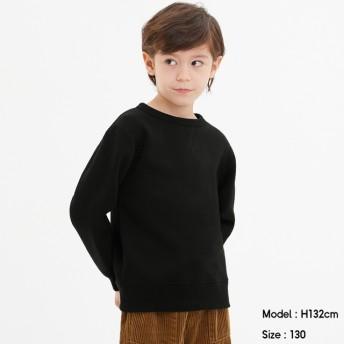 (GU)KIDS(男女兼用)裏起毛スウェットプルオーバー(長袖) BLACK 120