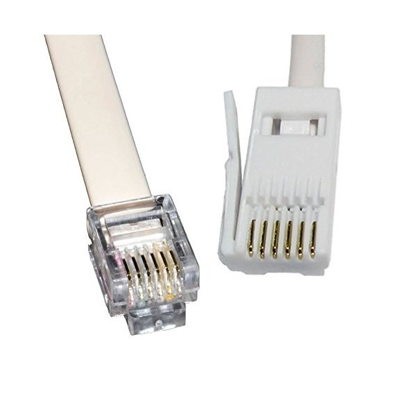 25ft Flat Phone Cable Wire RJ12 RJ-12 6P6C Straight Data Voice Telephone Line