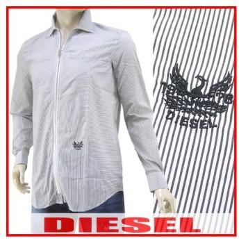 LAST1/Lサイズ/ディーゼル DIESEL メンズ ジップアップシャツ S PARRIS 00S85K 0AARQ ブラック/ホワイトストライプ/900/セール