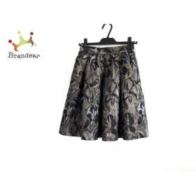 ダイアグラム スカート サイズ36 S レディース 美品 黒×ゴールド×マルチ 新着 20190907