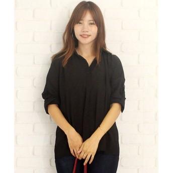 【10%OFF】 アミュレット ゆったりロングシャツ韓国ファッションレディース通気性動きやすい上品ふんわり レディース ブラック M 【Amulet】 【タイムセール開催中】