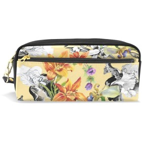 ALAZA 花柄 花 鉛筆 ケース ジッパー Pu 革製 ペン バッグ 化粧品 化粧 バッグ ペン 文房具 ポーチ バッグ 大容量