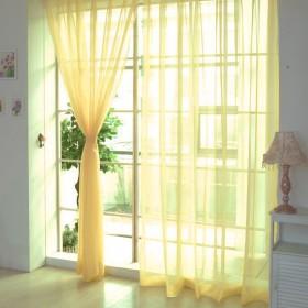 Hioffer(ハイオフア)カーテン 明るく 装飾 ボイルカーテン 洗濯可能 窓 部屋 自然の風を通し ドレープ パネル ウォッシャブル ドアカーテン チュール 薄手 UVカット カーテン 薄い 1枚 幅100cm丈200cm 黄色