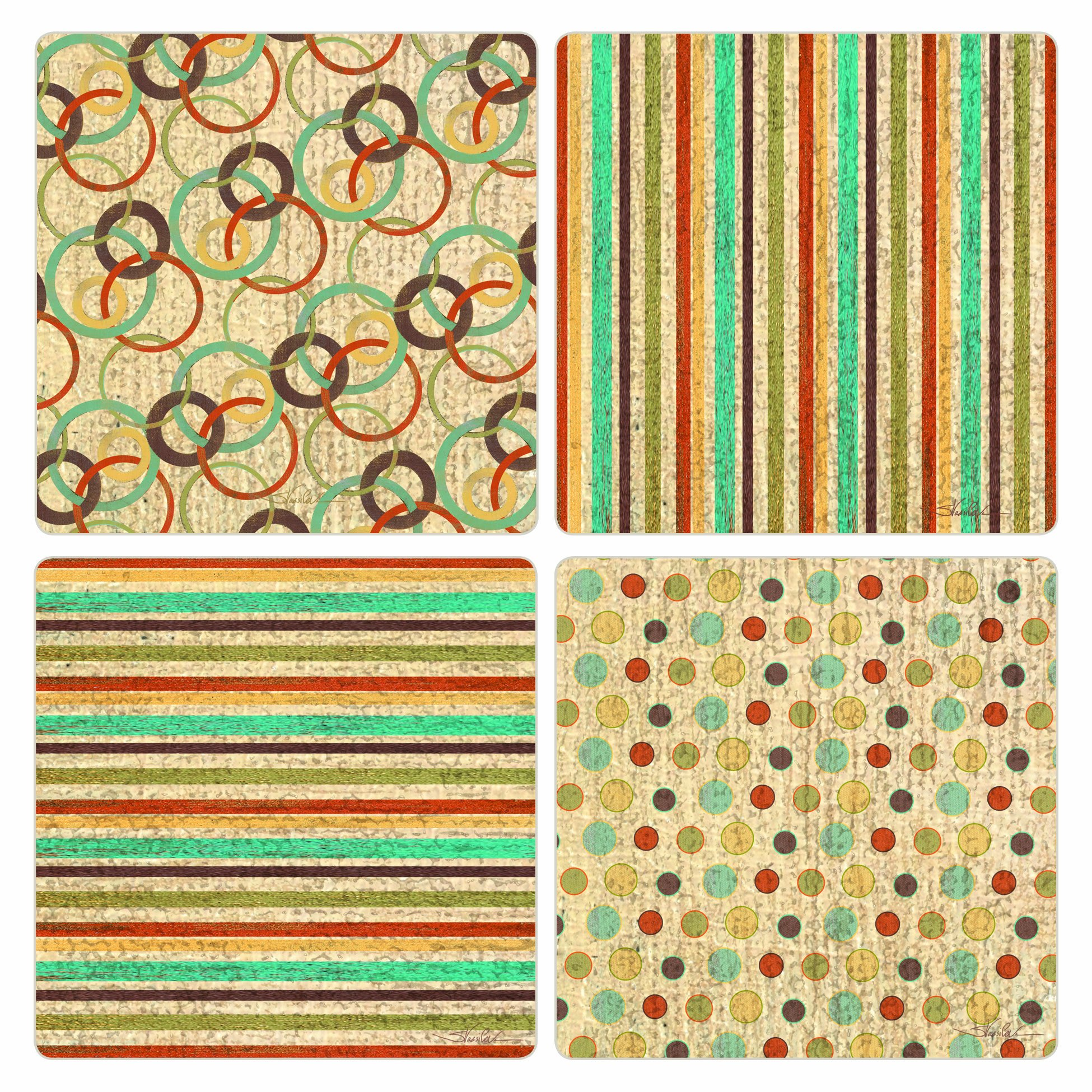 4-1//4-Inch,Jewel Flower Patterns CoasterStone AS2630 Absorbent Coasters Set of 4