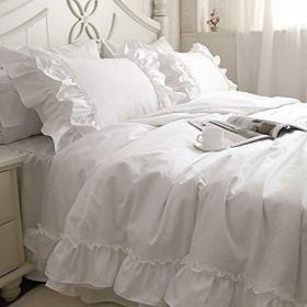 CNGLORY 綿100%ホワイト可愛い掛け布団カバーセット 枕カバー2枚 シングル