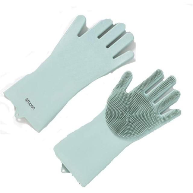 Shengshihuizhong 食器洗い用手袋、アーティファクト、家事、防水手袋、クリーニングブラシの増粘、赤、白、青 食器洗い機用手袋 (Color : Blue)