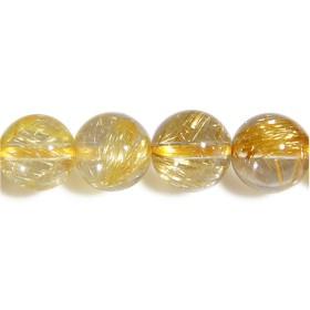 新宿銀の蔵 6A 金針ルチルクォーツ 8mm 天然石 ビーズ 丸玉 2玉セット (Aタイプ/透明度高め) レディース メンズ 粒売り パワーストーン