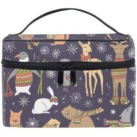 Christmas Animalsコスメ 化粧 ポーチ レディース 大容量 コンパクト 中身が見やすい 防水 シンプル 小物入れ 旅行