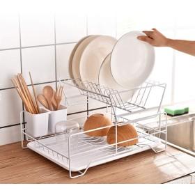 皿水切り、折りたたみ皿水切りラックドリップトレイ多機能錬鉄箸ラックドレインストレージバスケット (Color : White, Size : 43x34x26cm)