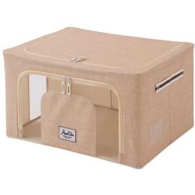 収納ボックス 積み重ねできる 窓付収納ボックス 50×40×28 衣類収納 小物収納 収納 スタッキング 衣装ケース フタ付き マルチケース 折りたたみ 窓付き (ベージュ)