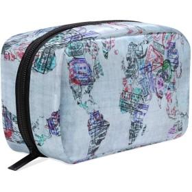 世界 地図柄 化粧ポーチ メイクポーチ 機能的 大容量 化粧品収納 小物入れ 普段使い 出張 旅行 メイク ブラシ バッグ 化粧バッグ