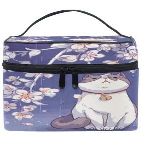 Anmumi 化粧ポーチ メイク ポーチ ボックス 収納ケース 仕切り 猫柄 桜 手提げ 大容量 かわいい おしゃれ レディース 女の子 機能的 小物入れ 旅行 出張 プレゼント