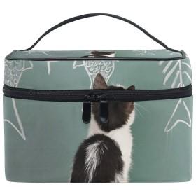 メイクポーチ 猫柄 化粧ポーチ 化粧箱 バニティポーチ コスメポーチ 化粧品 収納 雑貨 小物入れ 女性 超軽量 機能的 大容量