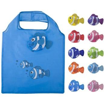 Opromo 10個魚の買い物袋カラフルな折り畳み式食料品袋のハンドルバッグ再利用可能なトートバッグ - 色込 - 10 Pack