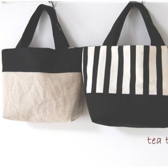しましま&帆布のリバーシブルミニトートバッグ(黒)