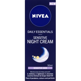 Nivea Daily Essentials Sensitive Night Cream (50ml) ニベア毎日の必需品敏感ナイトクリーム( 50ミリリットル)