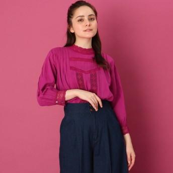 クチュール ブローチ Couture brooch 【WEB限定プライス/手洗い可】七分丈レースブラウス (ピンク)