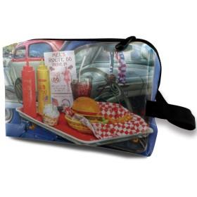 車 食べ物 化粧バッグ 収納袋 女大容量 化粧品クラッチバッグ 収納 軽量 ウィンドジップ