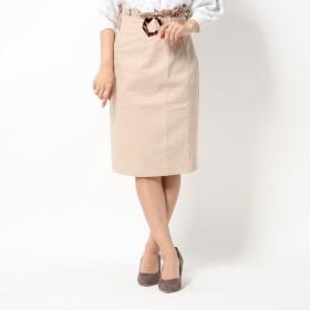 ミーア MIIA ツイルバックフリルタイトスカート (ベージュ)