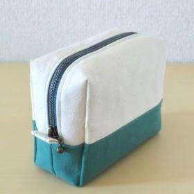 切り替えスクエアポーチS(11号帆布 生成り×緑青)