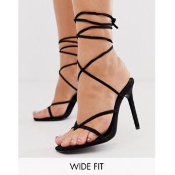 エイソス ASOS DESIGN レディース サンダル・ミュール シューズ・靴 Wide Fit Navigate barely there heeled sandals in black ブラック