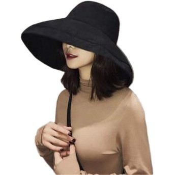 UVカット 帽子 レディース ハット 夏 女優帽 日焼け防止 熱中症予防 可愛い 小顔効果抜群 紫外線対策 uv帽 大人 (黒)