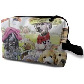 頭がいい犬 化粧バッグ 収納袋 女大容量 化粧品クラッチバッグ 収納 軽量 ウィンドジップ