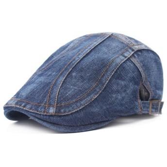 Doitsa ベレー帽 ハンチング キャップ デニム アウトドア ワイルド 通勤 紳士用 ハンチング フラット uvカット 日除け帽 コットンハット ストライプ柄 通気性 男女兼可 濃紺色