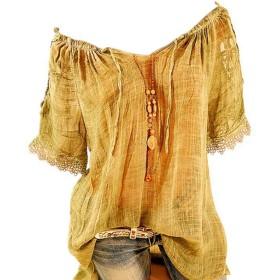 JanusSaja 夏の半袖オフショルダー半袖女性のTシャツ - 通気性カジュアルトップス