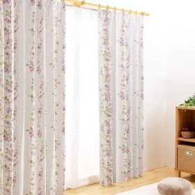 【全240種から選べるカーテン】 カーテン 2級遮光 4枚組(ドレープ2枚・レース2枚) UVカット 洗える 外から見えにくい 形状記憶 ブルーム パープル 幅100cm×丈135cm