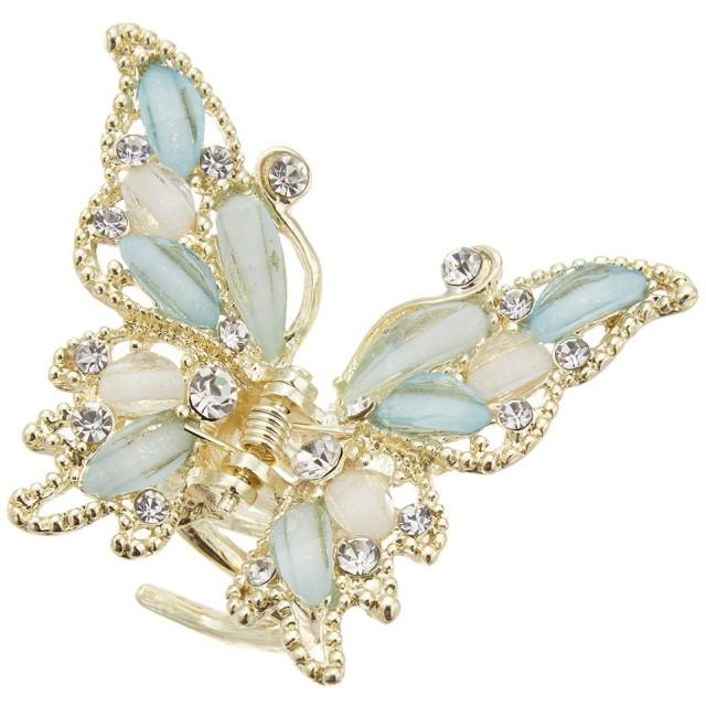アクセサリーショップピエナ ビジュー 透かし柄バタフライのヘアバンスクリップ 蝶々 レディース ブルー