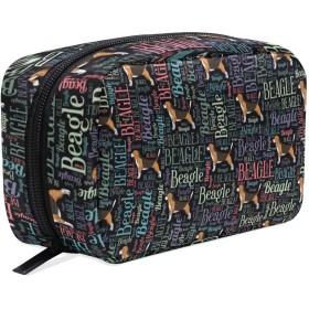 ビーグル犬のシルエットおよび単語の芸術パターン化粧ポーチ コスメポーチ メイクポーチ 使いやすい 機能的 小さめ コンパクト 化粧 ポーチ 便利グッズ キレイめ 小物入れ 旅行 トラベル