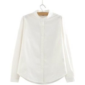 Pumpumly レディース スタンドカラー シャツ ブラウス シンプル コットン 長袖 立襟 女性用 3色4サイズ選択可能