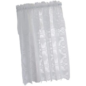 PETSOLA 2種 ハーフカーテン ショートカーテン カーテンドレープ カフェカーテン 刺繍 昼夜目隠し - Aホワイト