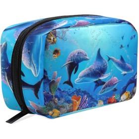 化粧品袋 トイレタリーバッグ 大容量とマルチコンパートメント付き 美容製品 整理用女性女の子用 プレゼント Ocean Sea Dolphin Fish Animal Pattern