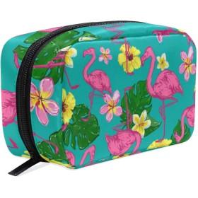 フラミンゴ 美容製品 化粧品のバッグ 女性 洗顔料 スキンケア 電子製品 アクセサリー ポータブル 整理バッグ用女の子 Flamingo Flower Banana Leaf