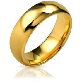 [ブリングジュエリー] 14金メッキ チタン製 幅8ミリ シンプル ドーム型 コンフォートフィット 結婚指輪 サイズ31号