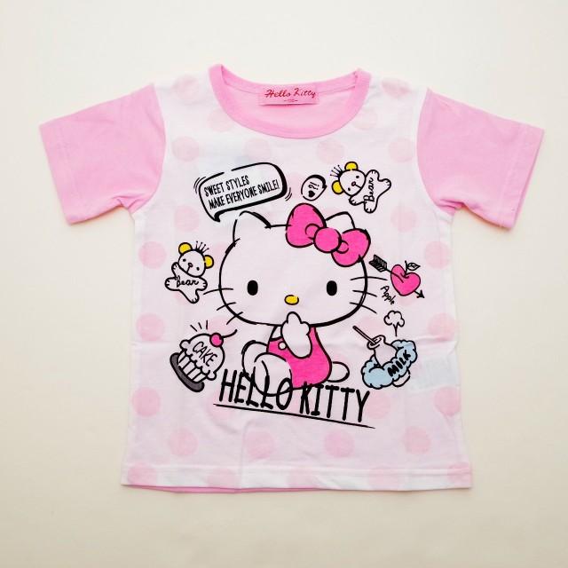 ハローキティ 半袖Tシャツ 100cm-130cm (842KT0011) (100cm, ピンク)