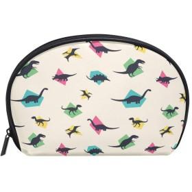 ALAZA 恐竜 半月 化粧品 メイク トイレタリーバッグ ポーチ 旅行ハンディ財布オーガナイザーバッグ