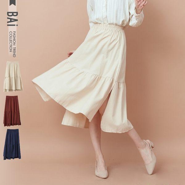 VOL932 純色素面棉麻質料 前短後長傘狀裙襬 藍、紅、杏~3色