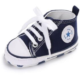 赤ん坊のような柔らかい底のキャンバスの幼児の靴 (12cm:6-12月, ブルー)