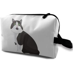 MEClOUD 黒猫 化粧ポーチ メイクポーチ コスメバッグ 収納 雑貨 小物入れ 旅行用