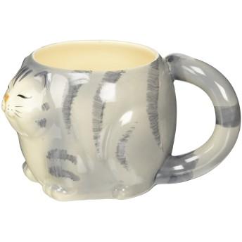 猫 マグカップ グレー 瀬戸焼