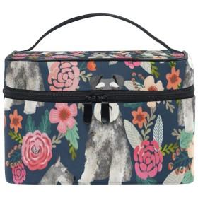 メイクポーチ 犬 花柄 化粧ポーチ 化粧箱 バニティポーチ コスメポーチ 化粧品 収納 雑貨 小物入れ 女性 超軽量 機能的 大容量